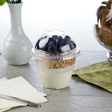 Pack of 25 Clear 4-Piece Plastic 9 oz Parfait Cup w/ Insert, Flat Lid, Dome Lid