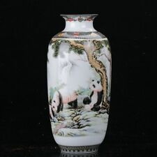 Chinese Famille Rose Porcelain Hand-painted Panda Vase W Qianlong Mark