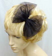 NEW CUTE 80s STYLE 6in BLACK TULLE NET PARTY FABRIC BOW HANDMADE HAIR HEAD