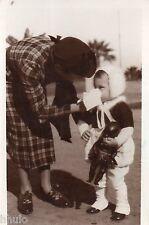 BJ256 Carte Photo vintage card RPPC Enfant mouchoir doll black poupée noire