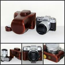 Coffee leather case bag for Fujifilm X-T10 camera w/ 16-50 or 18-55mm lens XT10