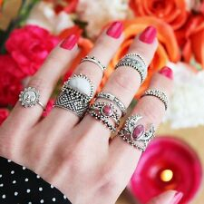 14PCS/set Punk Retro Finger Ring Geometry Boho Style Silver Plated