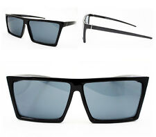 Designer Men's Black Hipster Flat Top Rectangular Pointed Sunglasses Aviator New