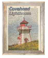 Covehead PEI Canada Lighthouse Altered Art Print Upcycled Vintage Dictionary