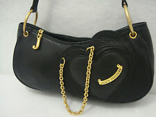 JUICY COUTURE GENUINE BLACK PEBBLE LEATHER SHOULDER BAG EXCELLENT CONDITION