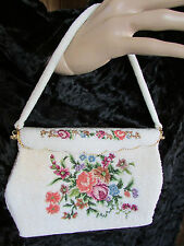 Vintage Off White Beaded Petit Point Multi-color Embroidery Evening Handbag