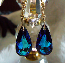 Bridal 14K Gold Bermuda Blue BB Teardrop Swarovski Crystal Earrings Color Anting