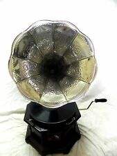 ANTIQUE OCTAGONAL GRAMOPHONE PHONOGRAPH FULLY FUNCTIONAL SILVER CRAFTED HORN