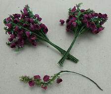 24 DELIGHTFUL WIRED PICK PURPLE FLOWERS,FREE pp FLORAL ARRANGERS,CRAFTS,FLORIST