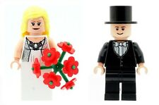 LEGO Wedding Bride and Groom Minifigs with Flesh Coloured Heads  NEW