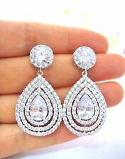 1.50 CT OVAL CUT DROP DANGLE PUSHED BACK EARRINGS 14CT WHITE GOLD
