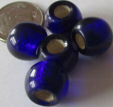18 Czech Glass Jumbo Cobalt Blue Foil-Lined Pony Beads 11mm x 9mm