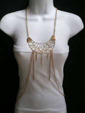 New Women Necklace Fashion Gold Large Pendant Metal Body Chains Long Jewelry