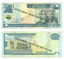 DOMINICAN REPUBLIC SPECIMEN NOTE 2000 PESOS 2012 P NEW UNC