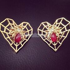 2pcs Punk Retro Gold Spider Heart Blouse Shirt Collar Tips Pin Brooch Clips