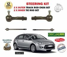 FOR CITROEN C4 2007- NEW 2x INNER 2X OUTER STEERING TIE TRACK RACK ROD END