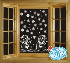 60 Snowflake & Snowmen Window Stickers Reusable Christmas Static Cling