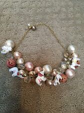 Anthropologie Lenora Dame Elephants Animal Folk Art Necklace Euc