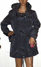 $200 New Betsey Johnson Gray Anorak Coat Jacket medium Hooded w liner
