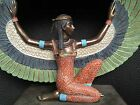 Large Veronese Resin Hand Coloured Isis Winged Statue Egypt Art Deco Styling