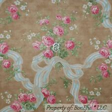BonEful Fabric FQ Cotton DECOR Quilt VTG Rose Pink Victorian Flower Shabby Chic