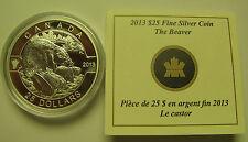 2013 Proof $25 O Canada #1-Beaver 1oz .9999 silver COIN & COA ONLY