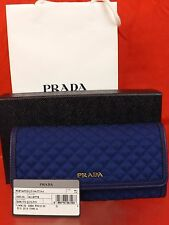NIB PRADA BLUETTE BLUE QUILTED NYLON LEATHER CONTINENTAL WALLET w/ID HOLDER