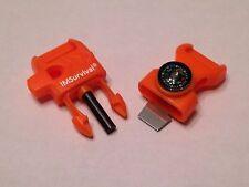 "5- 1/2"" Orange Paracord Buckles Whistle Flint Fire Starter Striker Compass USA"