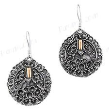"1 1/8"" BALI FILIGREE 925 STERLING SILVER GOLD ACCENT DROP earrings"
