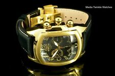 NEW Invicta Dragon Lupah SWISS Quartz Chronograph Black & GoldTone Leather Watch