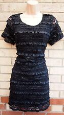 EVIE RIBBON FLUFFY FLORAL BLACK LACE FRILL BODYCON PARTY TUBE GLITTER DRESS 16