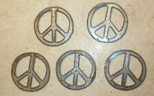 Lot of 5 Peace Signs 3 Inch Rough Rusty Metal Vintage Stencil Ornament Magnet