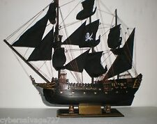 "Wooden Model Pirate Ship Boat Sailing Vessel Black Pearl 31"" L Weathered Finish"