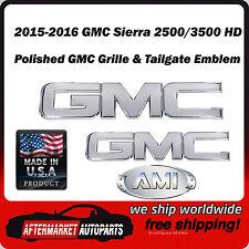 2015-2016 GMC Sierra 2500 HD Polished Billet Grille & Tailgate Emblem AMI 96514P