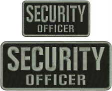 SECURITY OFFICER embroidery patches 4x10 and 3X6 hook on back BLK/GRAY