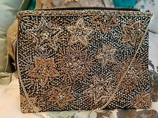Accessorize stunning light gold zipped fabric seqinned star clutch bag Bnwt