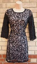 H&M BLACK FLORAL LACE CREAM SLIP CROP SLEEVE BODYCON PARTY TUBE DRESS S 8 10