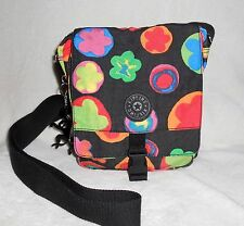 KIPLING BLACK MULTI-COLORED CROSS BODY TRAVEL SHOULDER BAG/LOTS OF COMPARTMENTS