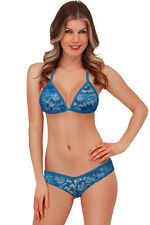 Exotic Lace Triangle Thong Bra Bikini Lingerie Sets Sky Blue