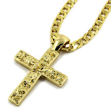 "Mens 14K Gold Plated Nugget Cross Pendant Hip-Hop 5mm/24"" Flat Cuban Chain"