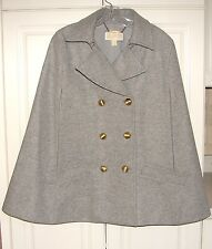 NEW Michael Kors gray wool melton double breasted cape M $325