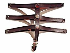 BROWN STEAMPUNK FAUX LEATHER CAGE GARTER BELT thigh stocking straps vegan 5Z