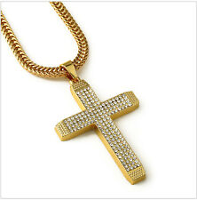 Mens Iced Out Crystal Micro Gem Chain Necklace Jesus Cross Crucifix Pendant