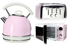 Pastel Pink Kettle 4 Slice Toaster Microwave Kitchen Vintage Aid Retro Set