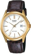 Casio MTP1183Q-7A Men's Leather Fashion Gold Tone White Dial Analog Date Watch
