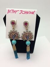 Betsey Johnson Authentic Gold-Tone Peacock Chain Fringe Drop Earrings