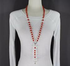 """Red Orange faux jade look bead beaded rosary silver cross 32"""" long necklace"""