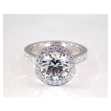 2.25 Cts SI2 G Vintage Heavy Pave Halo Round Solitaire Diamond Engagement Ring