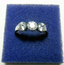 925 St silver ring, 3 Swarovski crystals, size 'O' US 7,