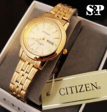 Women's Citizen 24K Gold PT Gold Dial Luxury Metal Band Date Dress Wrist Watch